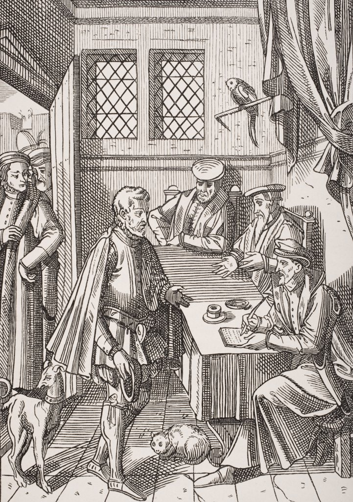 Bailliage or Tribunal of the King´s Bailiff. Facsimile of wood engraving in Praxis Rerum Civilium by Josse Damhoudere, Antwerp 1557 : Stock Photo