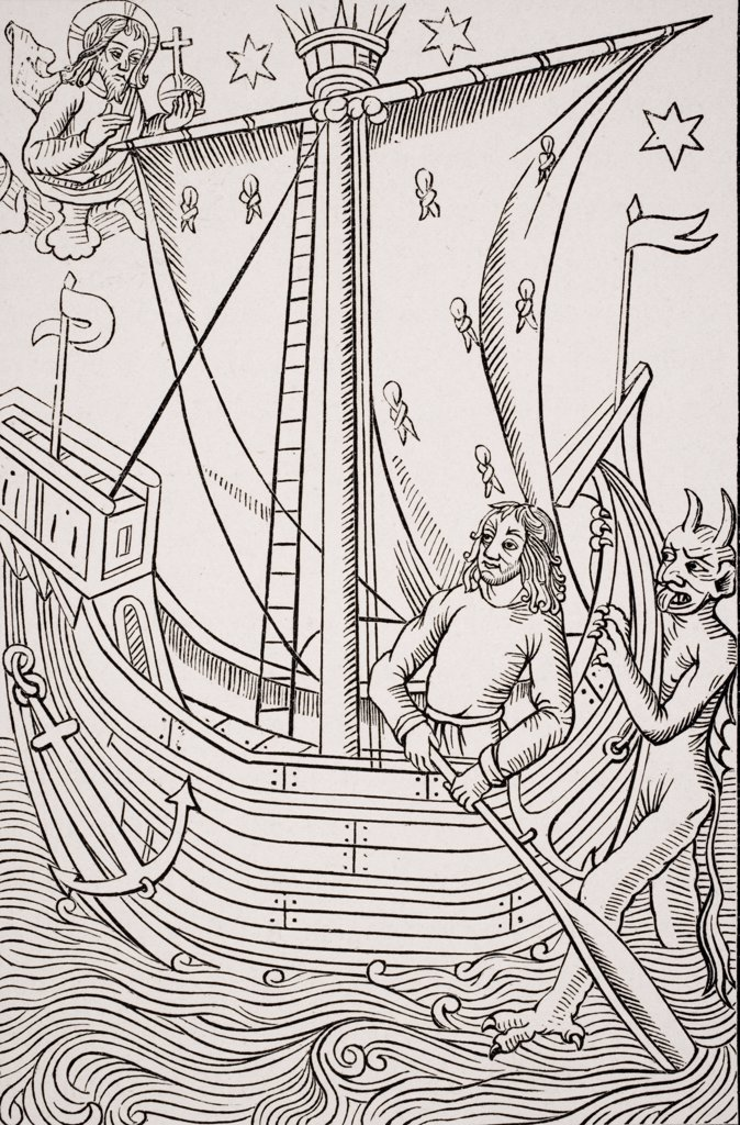 Merchant vessel in a storm. Facsimile of woodcut in Grand Kalendrier et Compost des Bergers by Nicolas de Rouge printed circa 1490 : Stock Photo