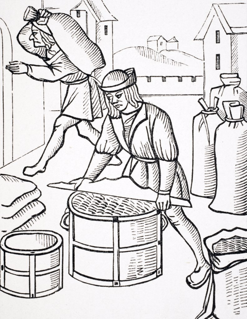 Measurers of Corn in Paris. After woodcut from Royal Orders Concerning the Jurisdiction of the Company of Merchants and Shrievalty in the City of Paris published 1528 : Stock Photo