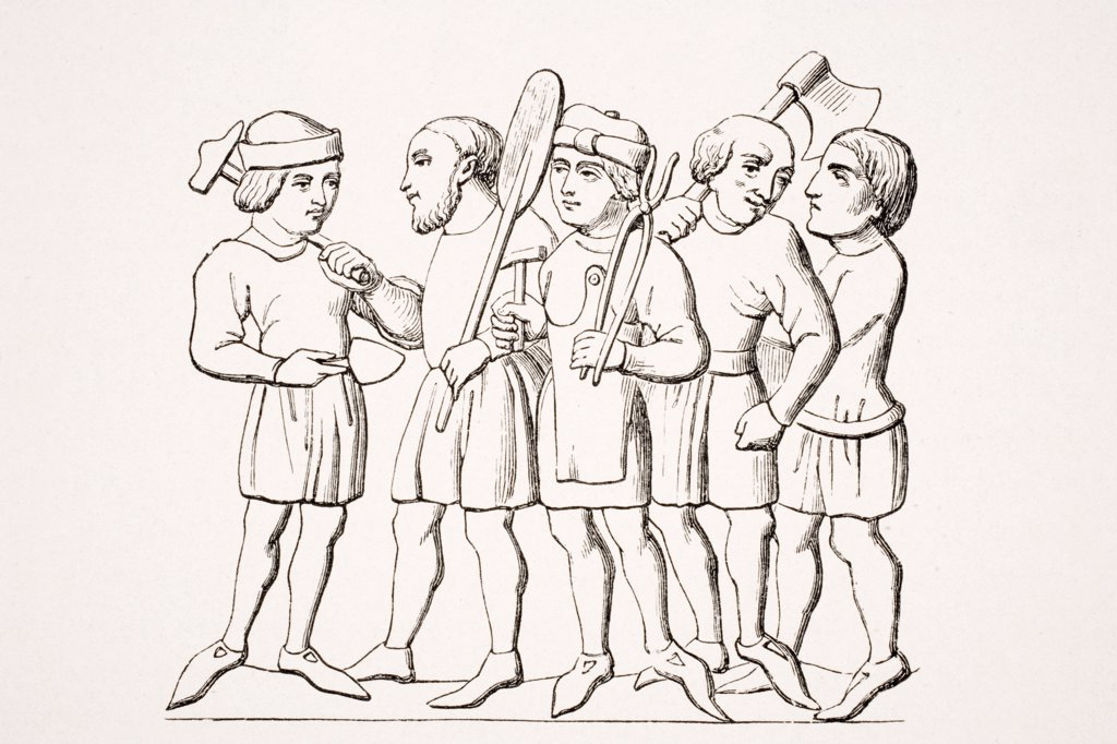 Stock Photo: 1899-39928 Craftsmen in the 14th century. 19th century reproduction of manuscript miniature