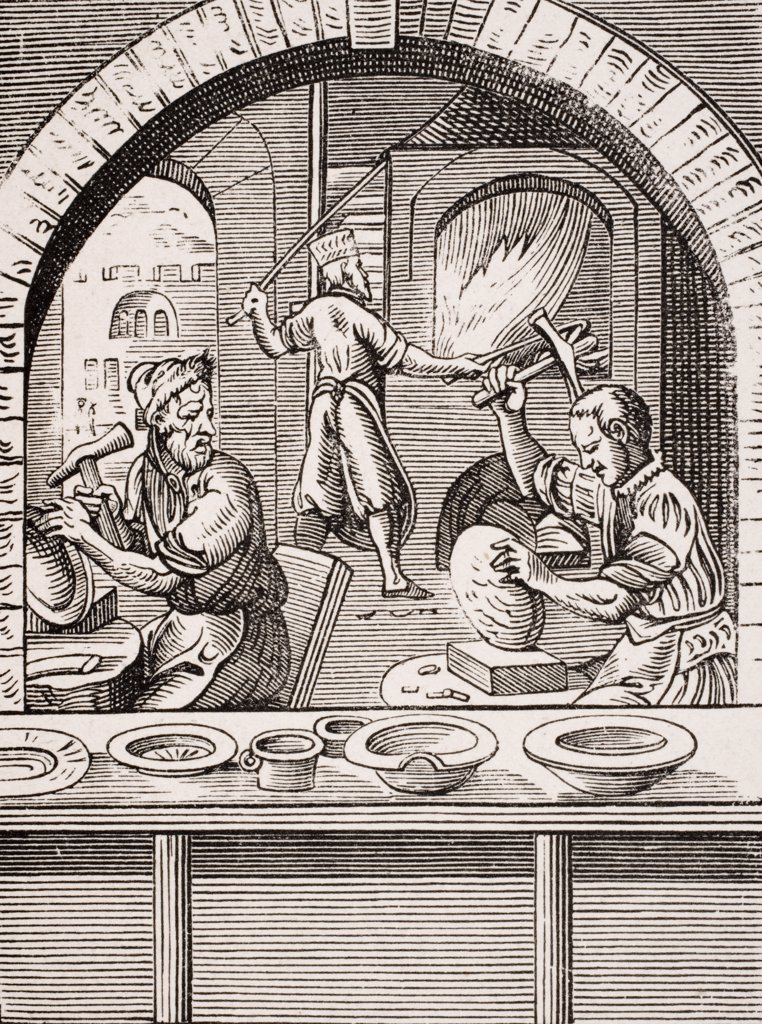 Basin maker. 19th century reproduction of 16th century woodcut by Jost Amman : Stock Photo