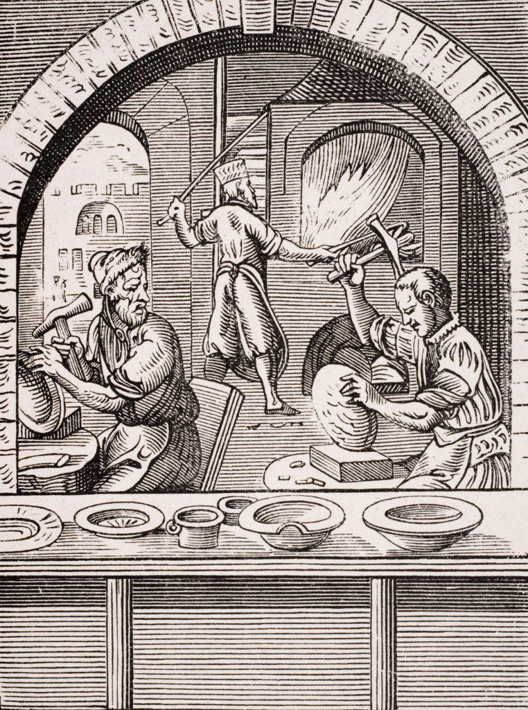 Stock Photo: 1899-39944 Basin maker. 19th century reproduction of 16th century woodcut by Jost Amman