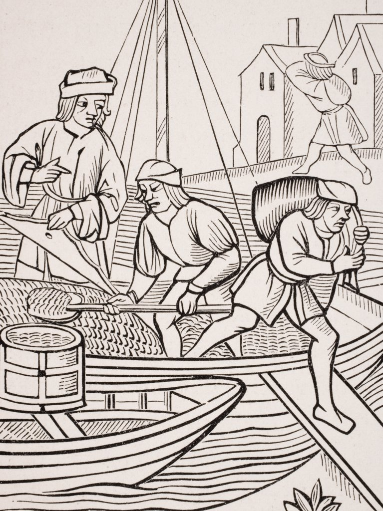 Stock Photo: 1899-39964 Measuring salt. 19th century reproduction of woodcut in Ordonnances de la Prevoste des Marchands de Paris dated 1500