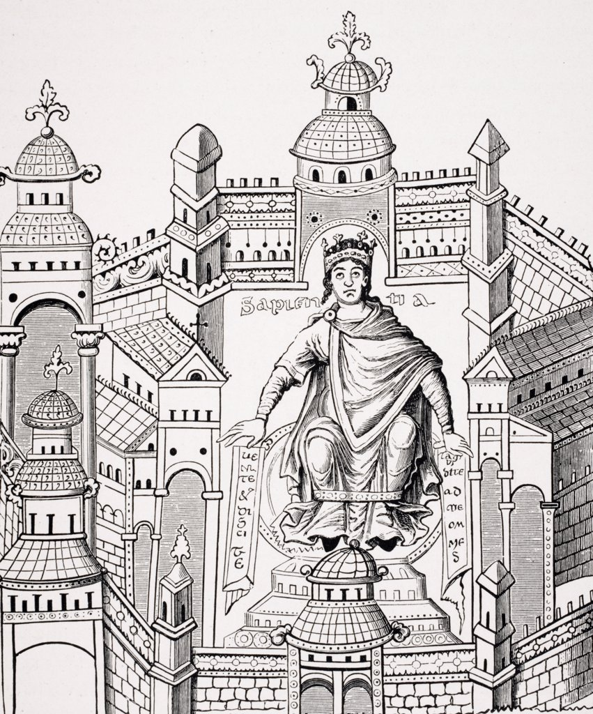 Stock Photo: 1899-39968 Carlovingian King in his Palace personifying Wisdom appealing to the whole Human Race. Copy of miniature from 9th century manuscript from drawing by Count Horace de Vielcastel