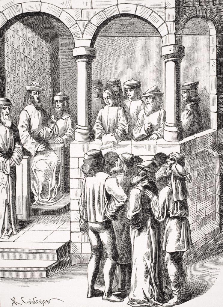 Promulgation of an Edict. Copy of miniature in 15th century manuscript Anciennetes des Juifs : Stock Photo