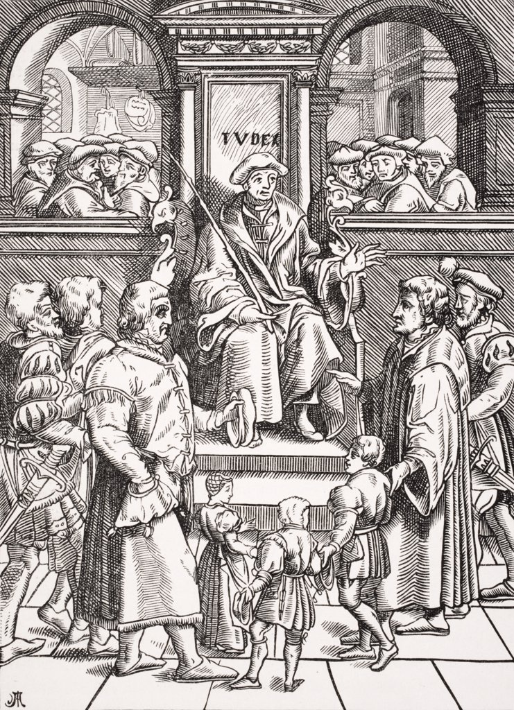 Stock Photo: 1899-39974 Inferior Court in the Great Bailiwick. Adoption of orphan children. Copy of woodcut in J. Damhoudere´s Refuge et Garand des Pupilles Orphelins published 1557