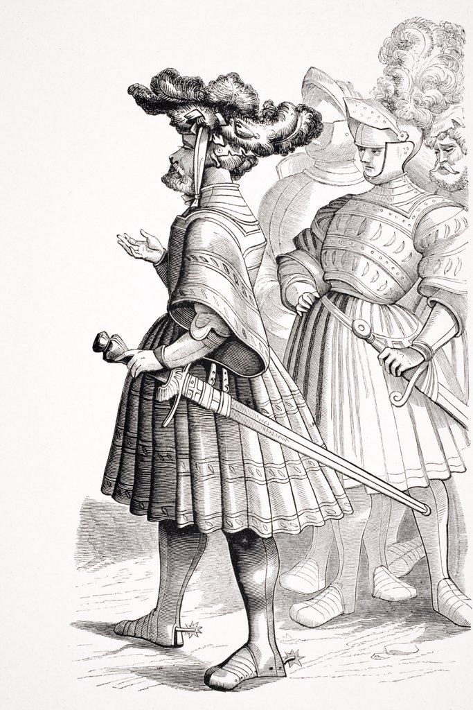 "Stock Photo: 1899-39979 German Knights of the 15th century from plate in the """"Life of the Emperor Maxmilian"""" engraved by Burgmayer from drawings by Albert Durer"