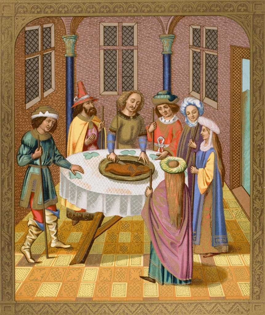 The Jews Passover. Facsimile of a miniature from a missel of the fifteenth century ornamented with painting of the school of Ven Eyck. : Stock Photo