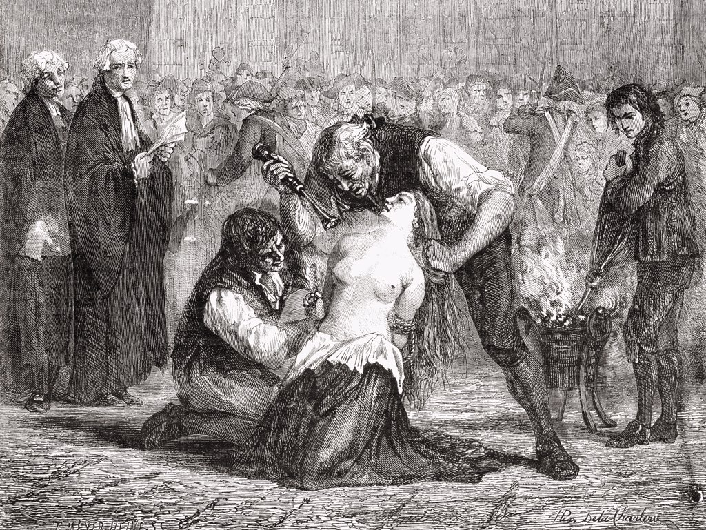 "The Torture of Madame de la Motte. Jeanne de Saint-Remy de Valois, Comtesse de la Motte. Engraved by Meyer-Heine after De La Charlerie' From """"Histoire de la Revolution Francaise"""" by Louis Blanc : Stock Photo"