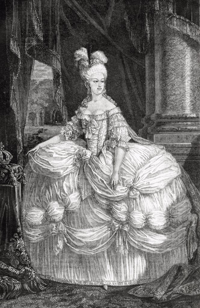 "Stock Photo: 1899-40026 Marie-Antoinette, 1755-1793. Queen of France, wife of Louis XVI. Engraved by Pannemaker-Ligny after De La Charlerie. From """"Histoire de la Revolution Francaise"""" by Louis Blanc."