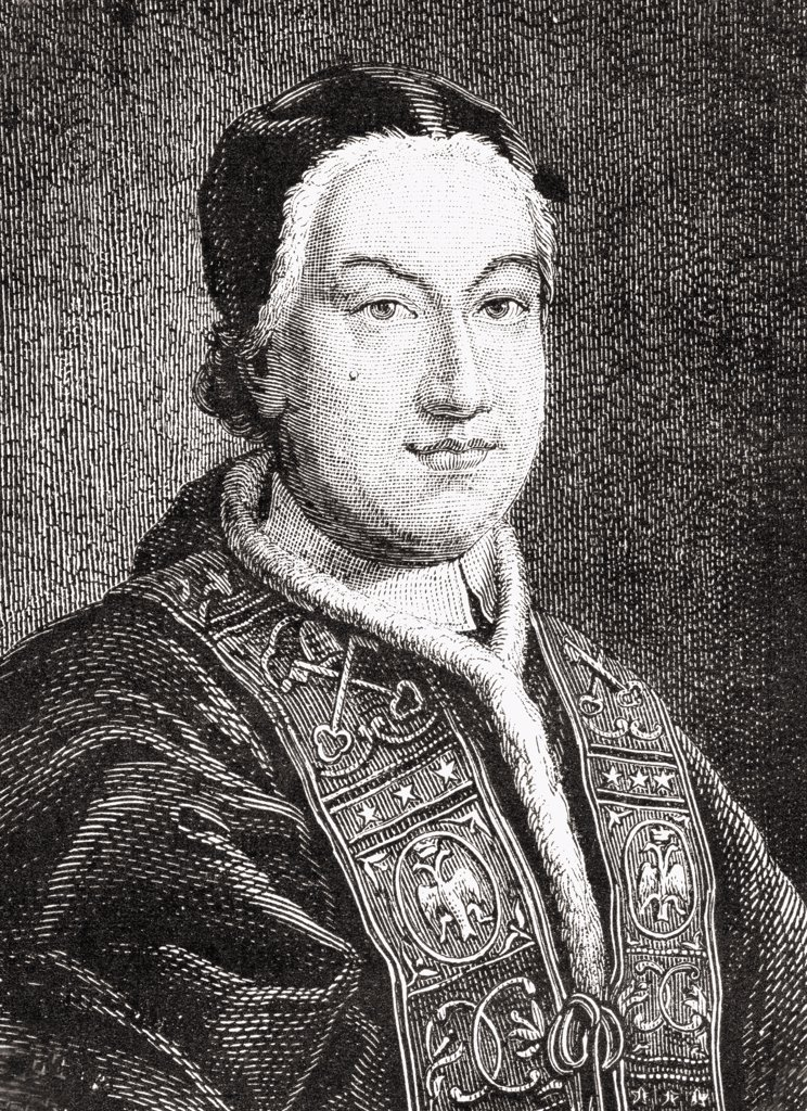 "Stock Photo: 1899-40105 Pope Pius VI, 1717-1799. (GIOVANNI ANGELICO BRASCHI).From """"Histoire de la Revolution Francaise"""" by Louis Blanc."