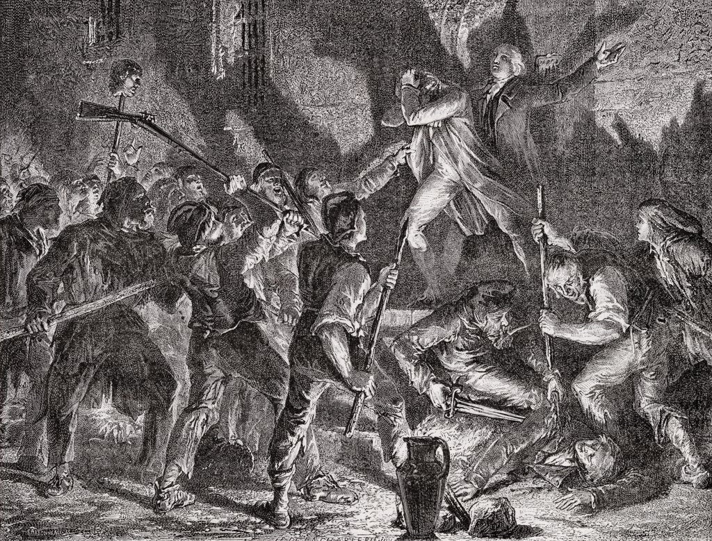 "Massacre in the prisons, September 1792. Engraved by C.Maurand after De La Charlerie.From """"Histoire de la Revolution Francaise"""" by Louis Blanc. : Stock Photo"