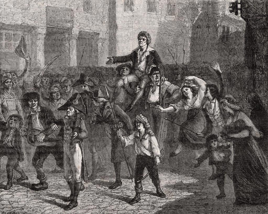 "Stock Photo: 1899-40152 Triumph of Marat,24 April 1793. Jean-Paul Marat, 1743-93 French politician, physician and journalist.From """"Histoire de la Revolution Francaise"""" by Louis Blanc."