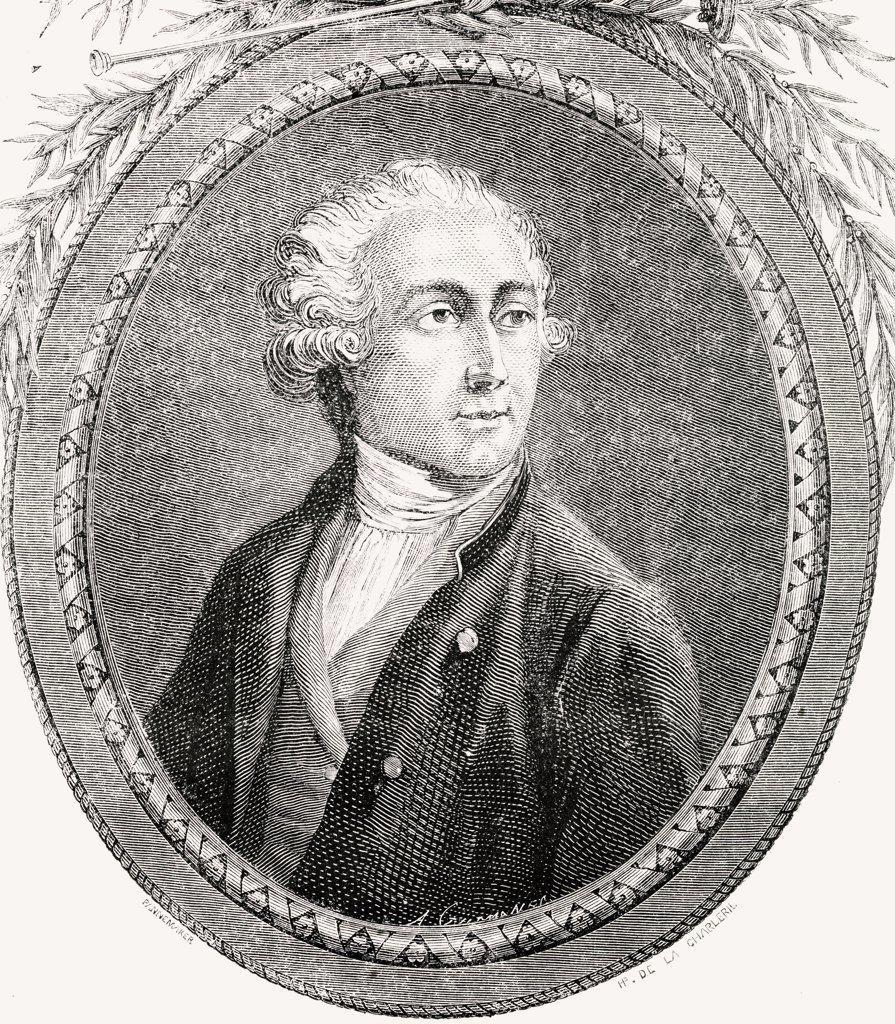 "Antoine Laurent Lavoisier, 1743-1794, French chemist. Engraved by Pannemaker-Ligny after De La Charlerie. From """"Histoire de la Revolution Francaise"""" by Louis Blanc. : Stock Photo"