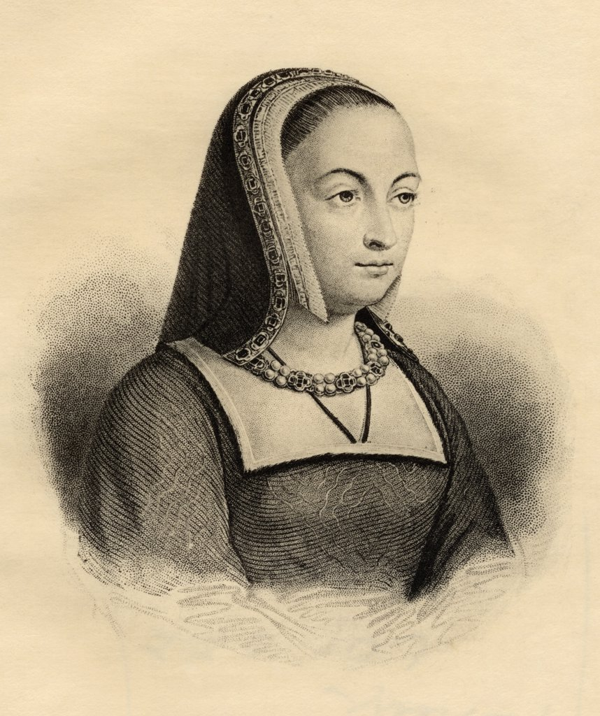 Stock Photo: 1899-40220 Anne of Brittany, 1477-1514. Queen of France as consort of Charles VIII, 1491-1498 and Louis XII 1499-1514. Photo-etching from an engraving by Hopwood. From the book ' Lady Jackson's Works, V. The Court of France, I' Published London 1899.