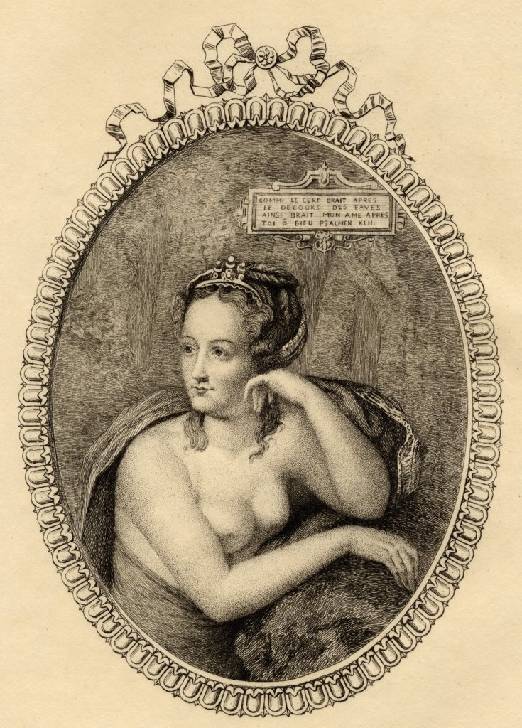 Stock Photo: 1899-40230 Diane de Poitiers, 1499-1566. French mistress of king Henri II of France.From the original etching by Mercier. From the book ' Lady Jackson's Works, V. The Court of France, I' Published London 1899.