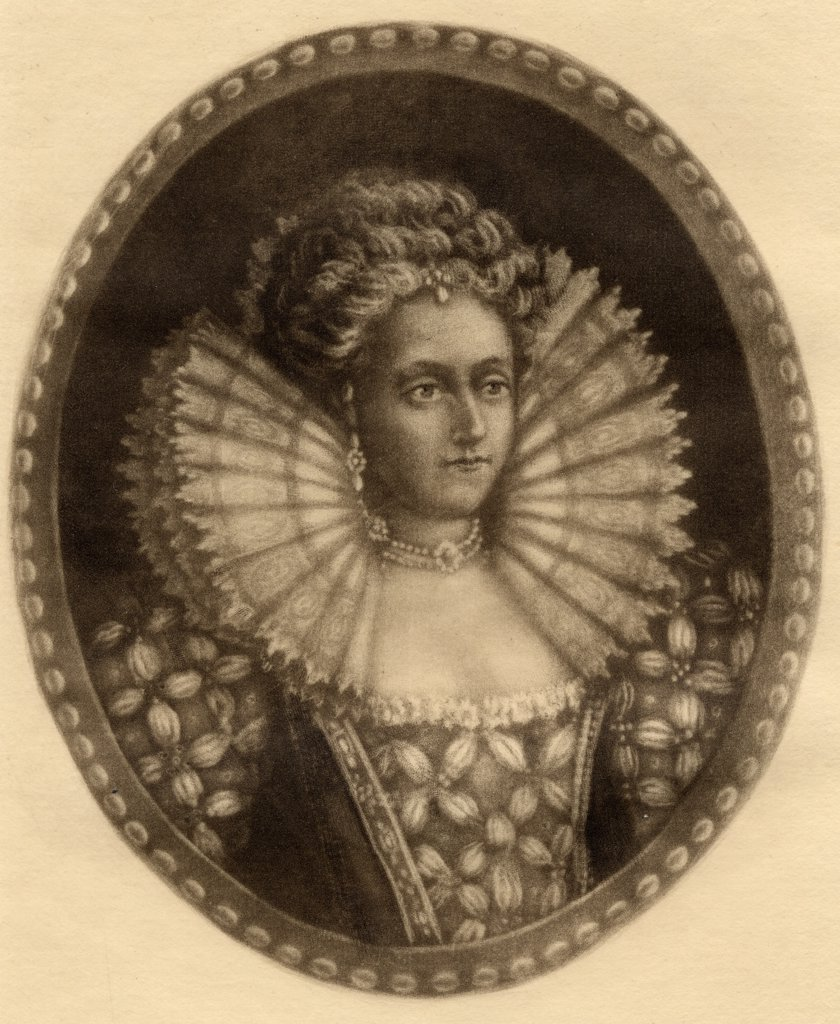 Elizabeth I, 1533-1603. Queen of England 1558-1603. Original etching by Mercier. From the book ' Lady Jackson's Works, VIII. The Last of the Valois II' Published London 1899. : Stock Photo