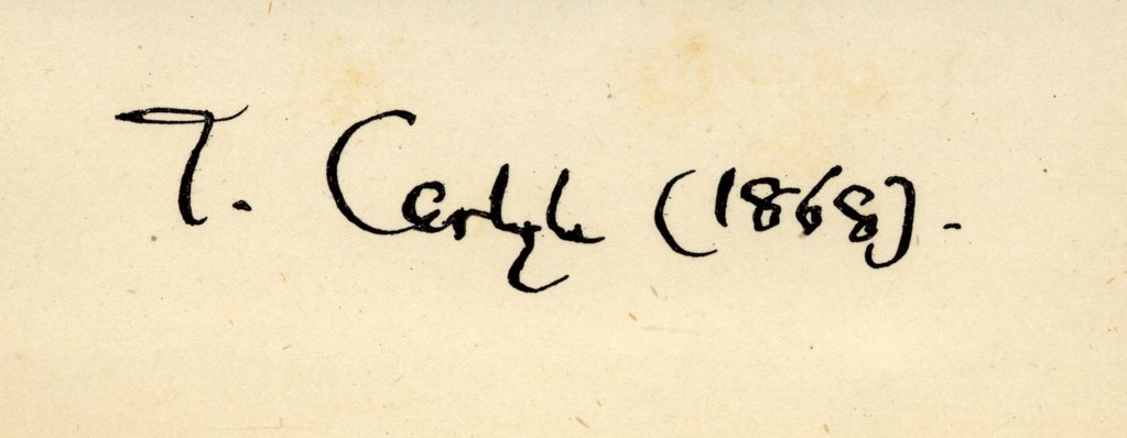 """Stock Photo: 1899-40350 Thomas Carlyle, signature. 1795-1881. Scottish-born English historian and essayist. From the book """"""""The French Revolution"""""""" by Thomas Carlyle. Published London, 1894."""