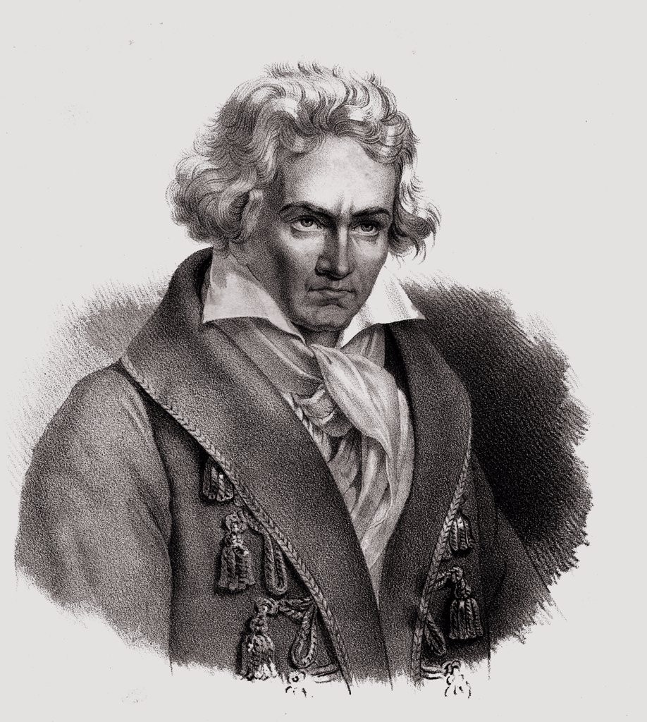 """Stock Photo: 1899-40411 Ludwig Von Beethoven. Baptized on December 17, 1770- 1827 German composerand pianist 19th century lithograph by Em. Baerentzen & Co.From the book """"""""Figaro. Journal of Literature,Art and Music"""""""" by Georg Garstensen. Published 1841."""