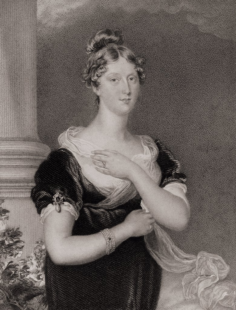 Stock Photo: 1899-40416 Princess Charlotte Caroline Augusta,1796-1817. Daughter of George IV. Engraved by W.Fry after Sir T. Laurence. From the book 'National Portrait Gallery Volume I' published 1830.