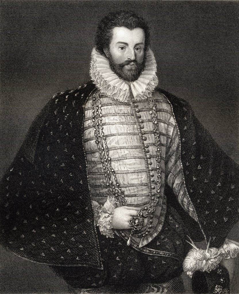 Sir Christopher Hatton, 1540-1591. Favourite of Elizabeth I & lord chancellor of England from 1587-1591. From the book 'Lodge's British Portraits' published London 1823. : Stock Photo