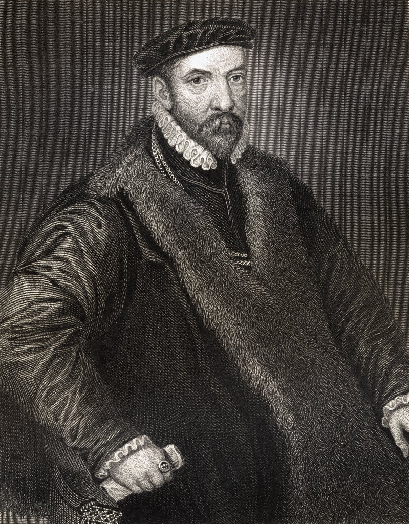 Stock Photo: 1899-40642 Sir Nicholas Bacon 1510-1579. English politician Father of Francis Bacon. From the book 'Lodge's British Portraits' published London 1823.