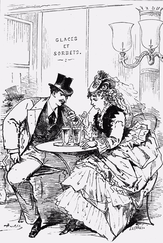 "Drinks on the Boulevard. French school, 19th century. From the book """"Paris Herself Again in 1878-9"""" by George Augustus Sala, published 1882. : Stock Photo"