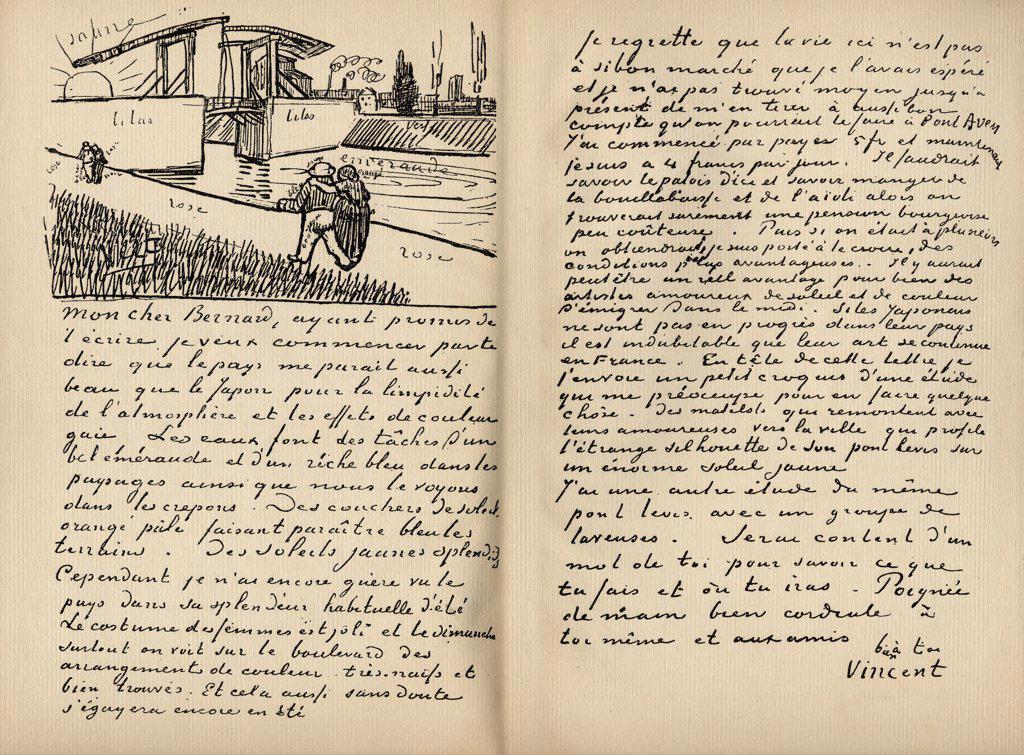 "Facsimilie of letter from Vincent Van Gogh to Emile Bernard, Arles, 18 March 1888. Vincent Van Gogh, 1853-1890. Dutch artist. From the book """"Vincent Van Gogh"""" by Julius Meier-Graefe published Munchen 1912. : Stock Photo"