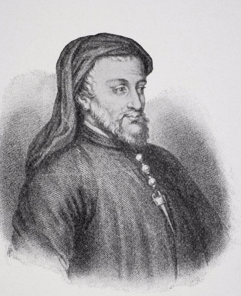 Geoffrey Chaucer c.1342/3-1400 English writer. : Stock Photo