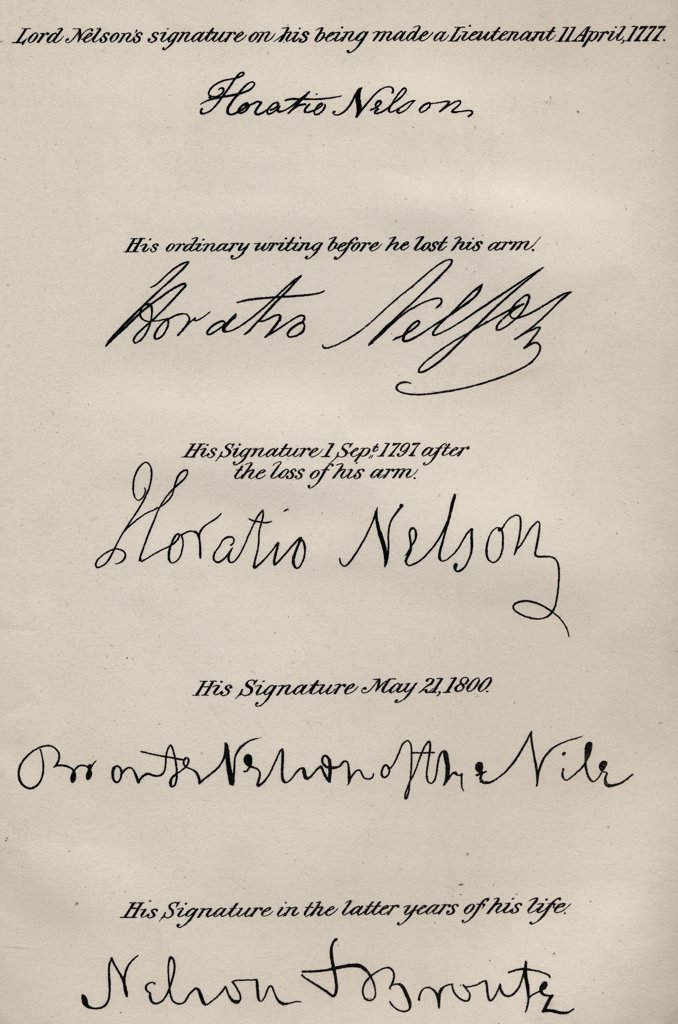 """Stock Photo: 1899-40966 Lord Nelsons' signatures. Horatio Nelson,Lord Nelson,Viscount Nelson, 1758-1805. British naval commander. Illustration by Westall. From the book """"""""The Life of Nelson"""""""" by Robert Southey published London, 1883."""
