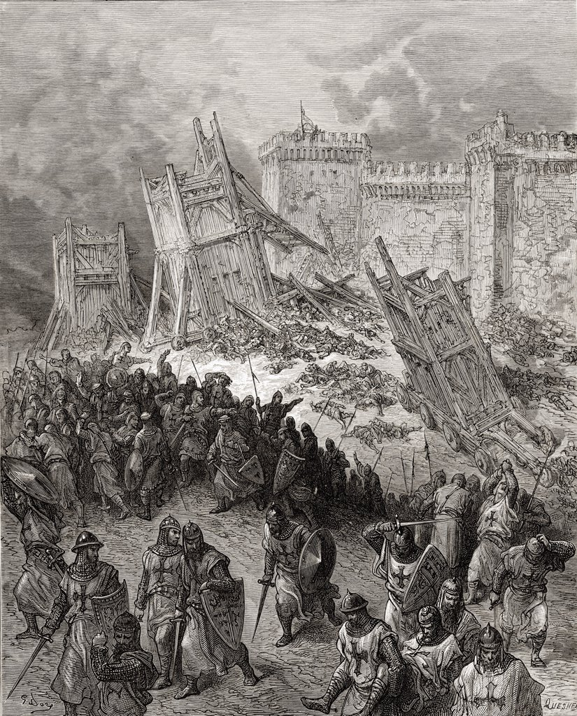Stock Photo: 1899-41238 Second assault of Jerusalem the crusaders repulsed during the first crusade