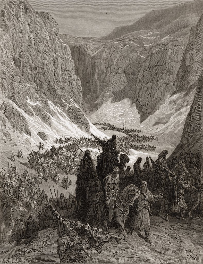 Stock Photo: 1899-41245 The Christian army in the mountains of Judea