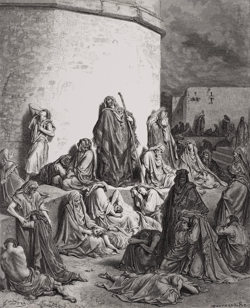 Engraving from The Dore Bible illustrating Lamentations i 1 and 2 The People Mourning over the Ruins of Jerusalem by Gustave Dore 1832-1883 French artist and illustrator : Stock Photo