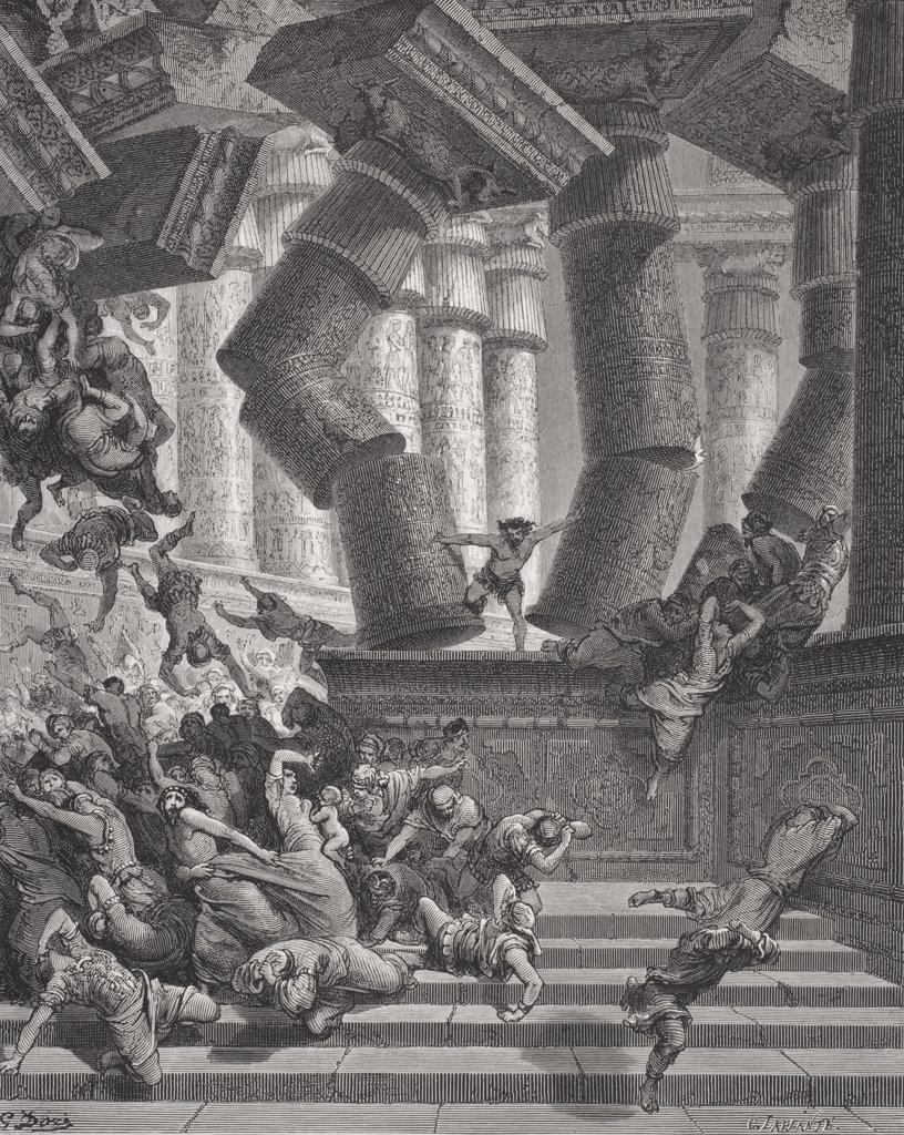 Engraving from the The Dore Bible illustrating Judges xvi 28 to 30 Death of Samson by Gustave Dore 1832-1883 French artist and illustrator. : Stock Photo