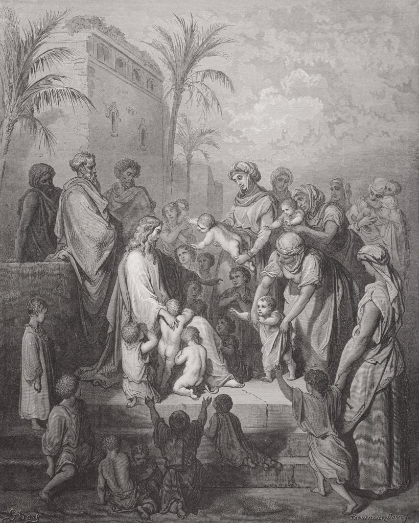 Engraving from The Dore Bible illustrating Mark x 13 to 16 Jesus Blessing the Children by Gustave Dore 1832-1883 French artist and illustrator : Stock Photo