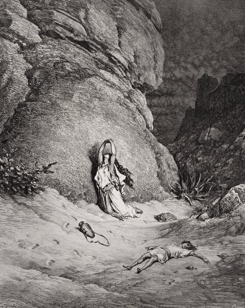 Stock Photo: 1899-41277 Engraving from The Dore Bible illustrating Genesis xxi 14 to 19 Hagar and Ishmael in the Desert by Gustave Dore 1832-1883 French artist and illustrator