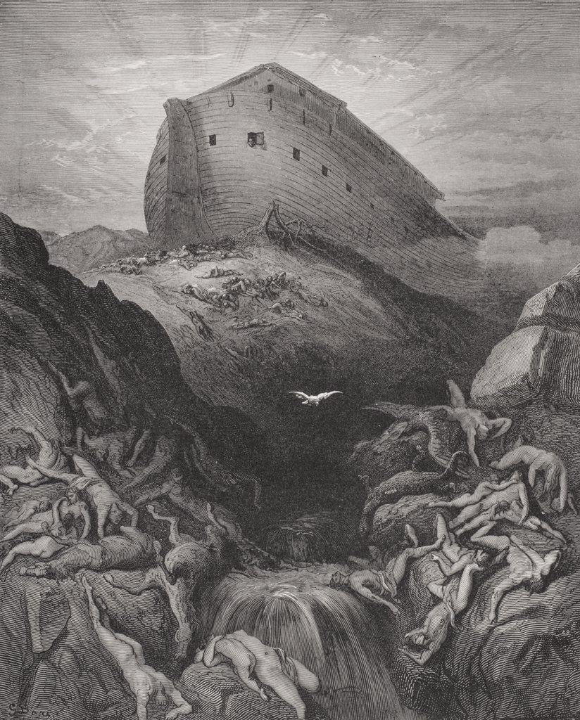 Engraving from The Dore Bible illustrating Genesis xiii 8 and 9 The Dove Sent Forth From the Ark by Gustave Dore 1832-1883 French artist and illustrator : Stock Photo