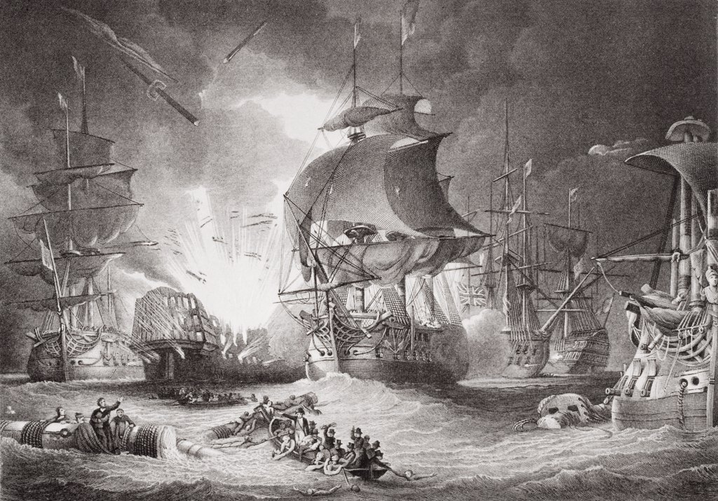 Stock Photo: 1899-41576 The Battle of the Nile night of August 1, 1798. Engraved by C. Lawrie after George Arnald. From the book 'Illustrations of English and Scottish History' Volume II