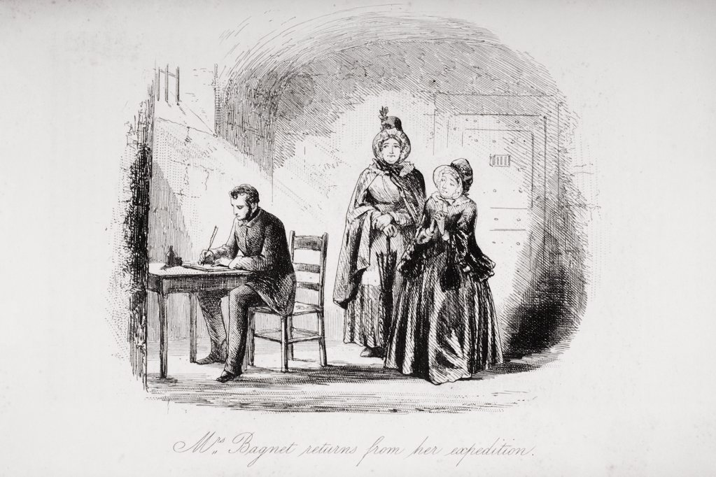 "Stock Photo: 1899-41689 Mrs. Bagnet returns from her expedition. Illustration by Phiz (Hablot Knight Browne) 1815-1882. From the book Bleak House"""" by Charles Dickens. Published London 1853."