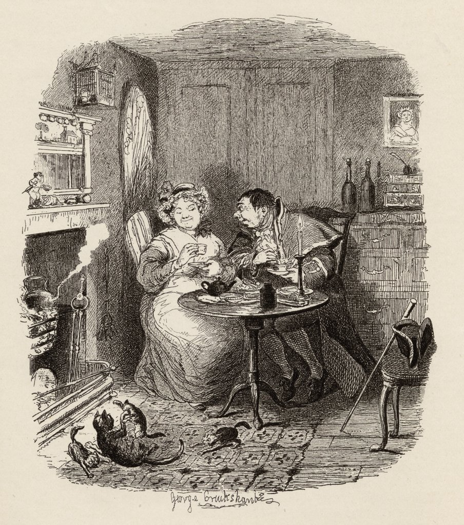 "Stock Photo: 1899-41750 Mr.Bumble and Mrs.Corney taking tea. From the book """"The Adventures of Oliver Twist"""" by Charles Dickens, with illustrations by G.Cruikshank. Published by Chapman and Hall, London 1901."
