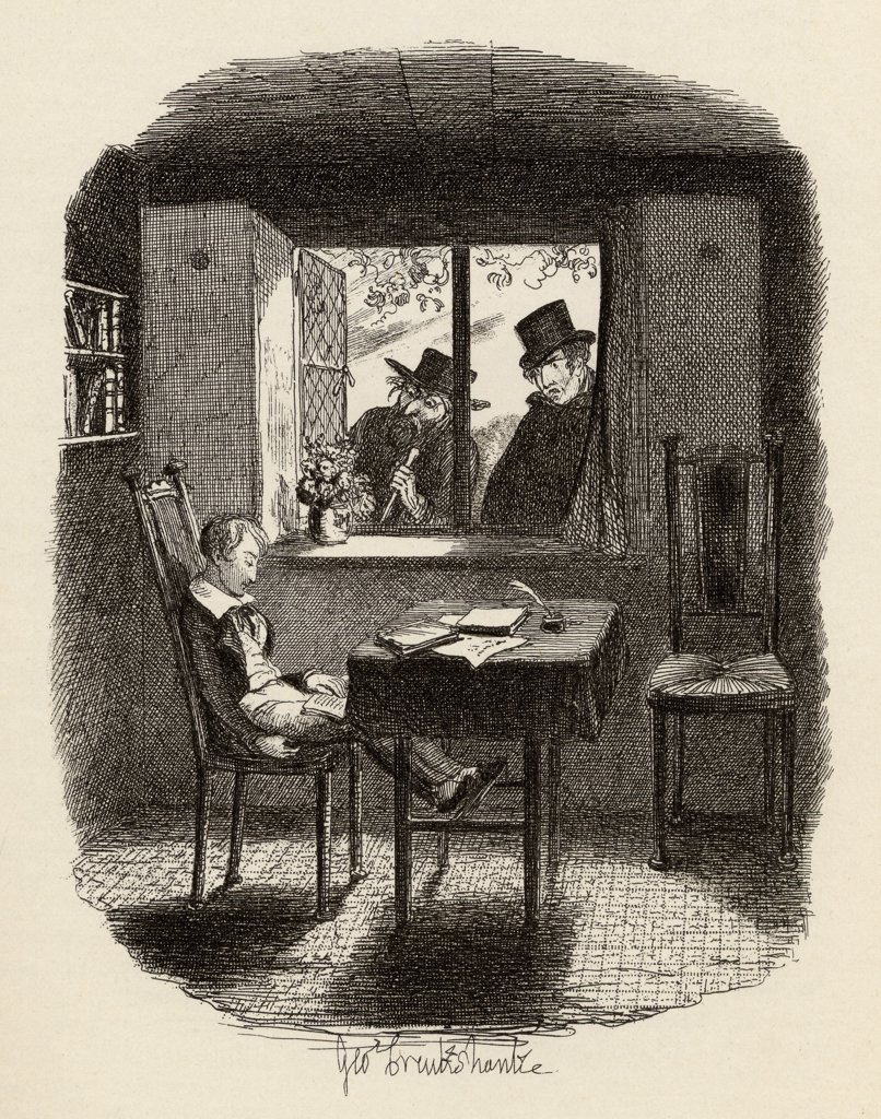 """Stock Photo: 1899-41754 Monks and the Jew. From the book """"""""The Adventures of Oliver Twist"""""""" by Charles Dickens, with illustrations by G.Cruikshank. Published by Chapman and Hall, London 1901."""