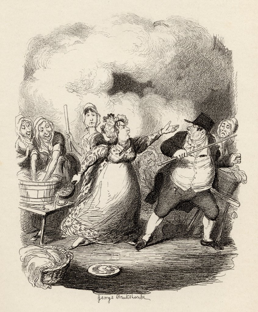 "Mr.Bumble degraded in the eyes of the paupers. From the book """"The Adventures of Oliver Twist"""" by Charles Dickens, with illustrations by G.Cruikshank. Published by Chapman and Hall, London 1901. : Stock Photo"