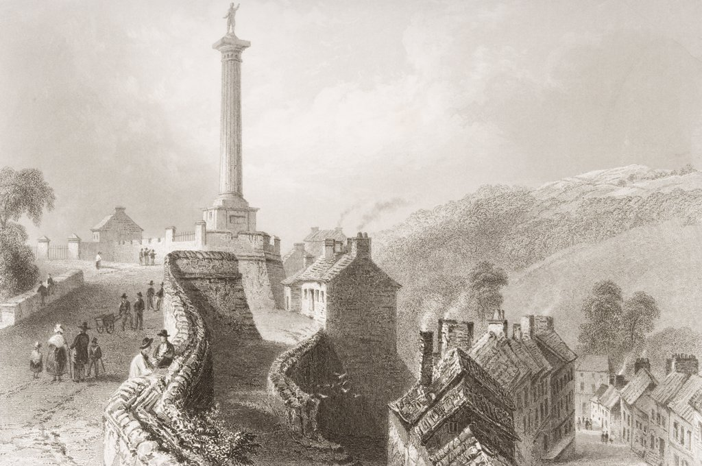 Walker's Pillar - Walls of Londonderry, Ireland. Drawn by W.H.Bartlett, engraved by R. Wallis. From 'The Scenery and Antiquities of Ireland' by N.P.Willis and J.Stirling Coyne.Illustrated from drawings by W.H.Bartlett. Published London c.1841. : Stock Photo