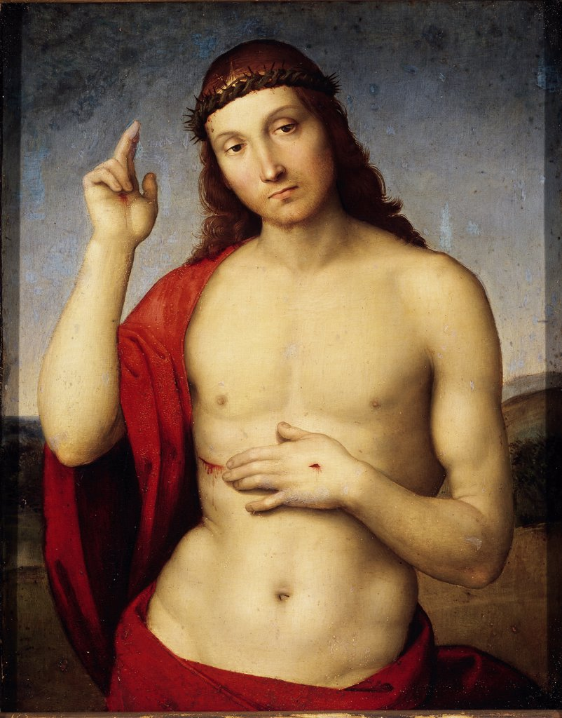 Christ Blessing, by Raffaello Sanzio a.k.a Raphael (1483-1520). Oil on canvas, 30x25 cm, 1506. Pinacoteca Tosio Martinengo, Brescia, Italy.  : Stock Photo