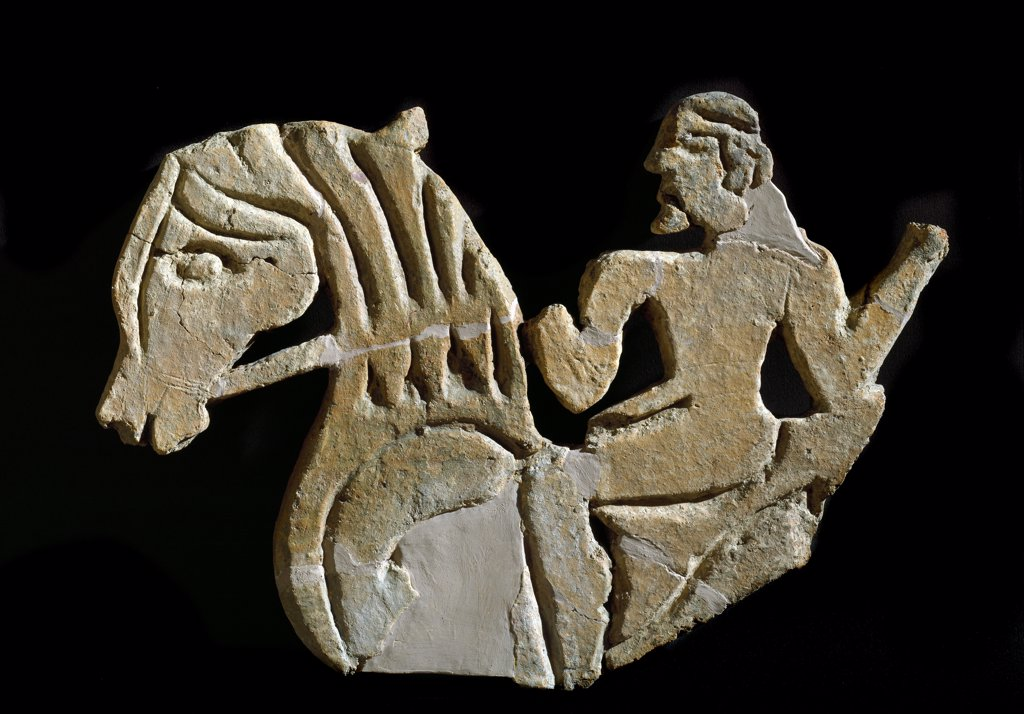 Etruscan Civilisation: Sculpted Acroter in the shape of a Horseman. From the Palace at Murlo. 7th century BC. Depositi Soprintendenza Archeologica dell' Etruria, Florence Italy.  : Stock Photo