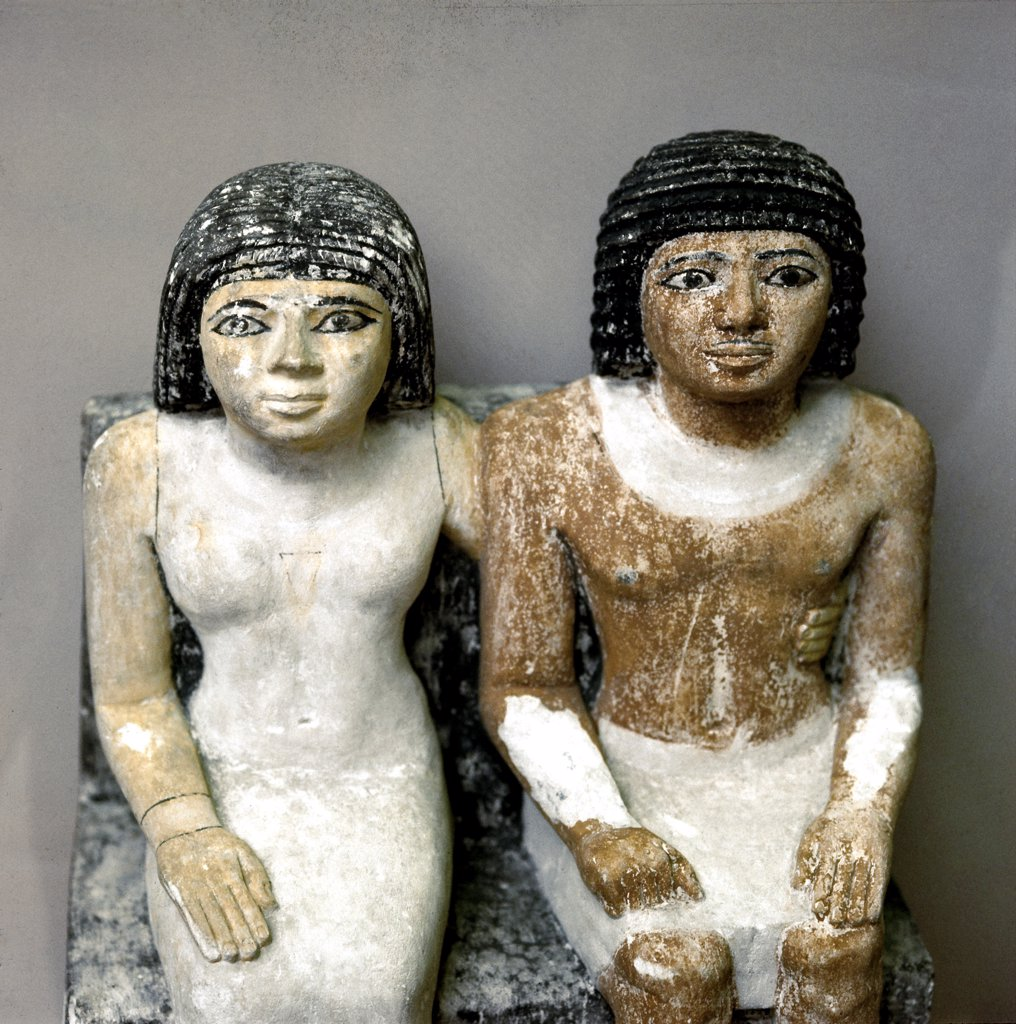 Egyptian Antiquities: The priest Katep and his wife Hetepheres. Possibily from Giza, Egypt. Painted limestone, H47.5 cm, 5th/6th Dynasty, c.2300 BC. British Museum, London, UK .  : Stock Photo