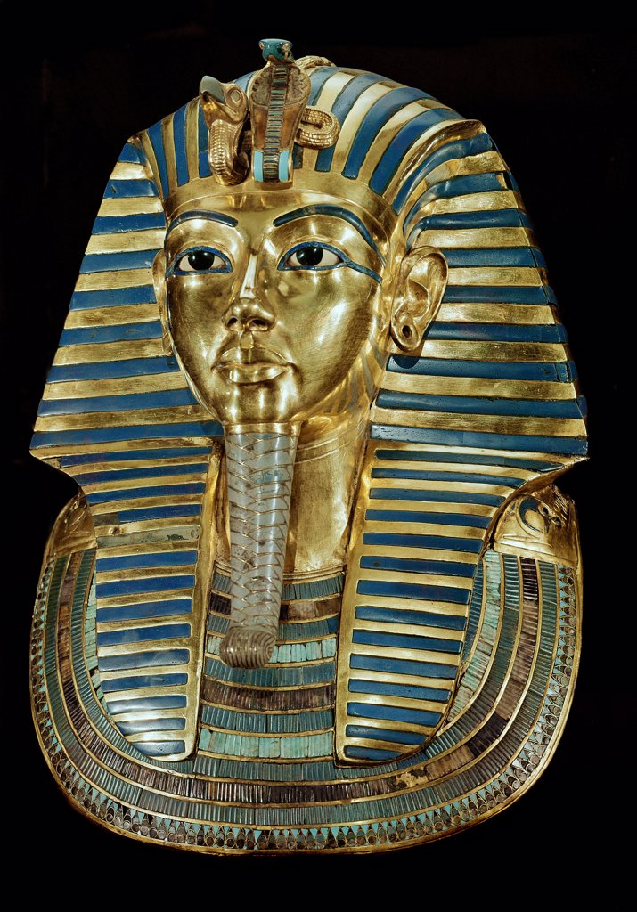 Stock Photo: 1899-41996 Egyptian Antiquities: Mask of Pharaoh Tutankhamun, part of Tutankhamun's Treasures. Gold with precious stones, H54 cm, 18th Dynasty,c. 1340 BC. From the Tomb of Tutankhamun, Valley of the Kings, Thebes. Egyptian Museum, Cairo, Egypt .