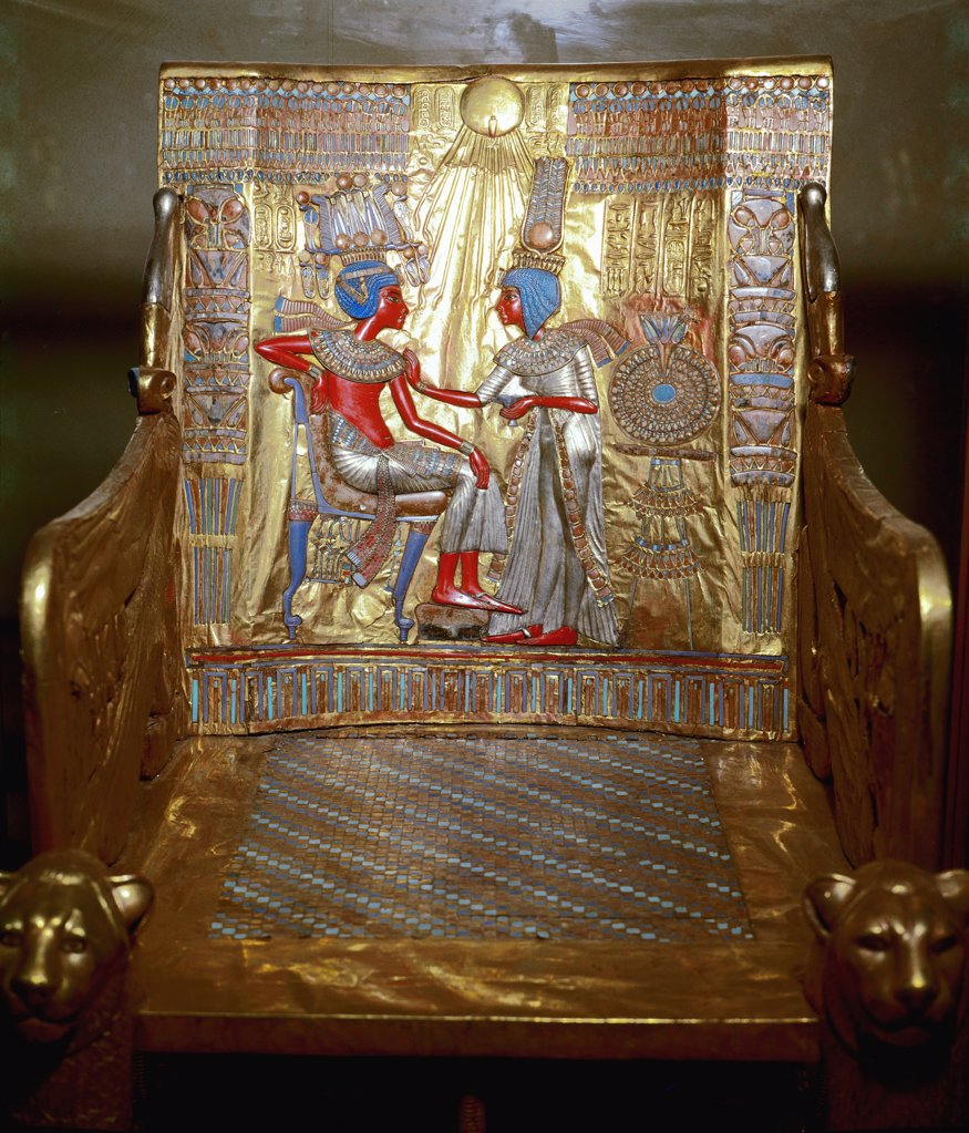 Egyptian Antiquities: Tutankhamun's Golden Throne, detail. Part of Tutankhamun's Treasures. Wood, H104 cm, 18th Dynasty, c.1340 BC. From the Tomb of Tutankhamun, Valley of the Kings, Thebes. Egyptian Museum, Cairo, Egypt.  : Stock Photo