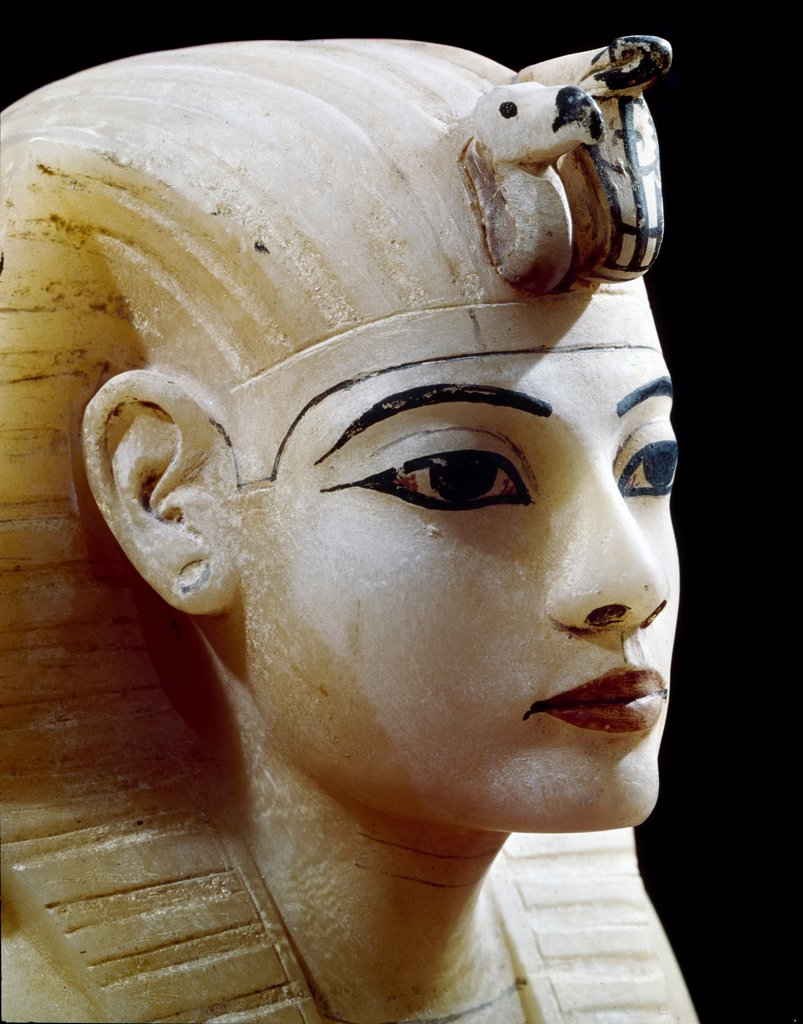 Stock Photo: 1899-42005 Egyptian Antiquities: Lid of an Alabaster Canopic Jar representing Tutankhamun. Part of Tutankhamun's Treasures. Alabaster, 18th Dynasty, c.1340 BC. From the Tomb of Tutankhamun, Valley of the Kings, Thebes. Egyptian Museum, Cairo, Egypt.