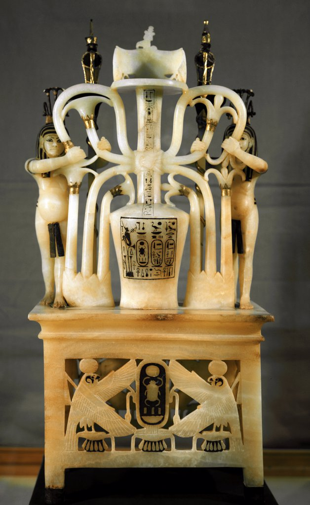 Egyptian Antiquities: Alabaster Perfume Jar representing the Sema Taouy symbol. Part of Tutankhamun's Treasures. Alabaster, H75 cm, 18th Dynasty, c.1340 BC. From the Tomb of Tutankhamun, Valley of the Kings, Thebes. Egyptian Museum, Cairo, Egypt .  : Stock Photo